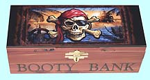 PIRATE'S BOOTY BANK with lock